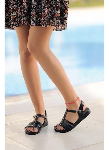Pembe Potin A207-20 Kadın sandalet A207-20 Siyah